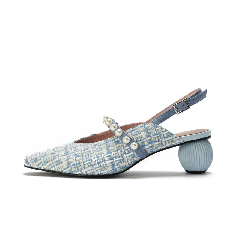 Ladies Tweed Pearl Strap Slingback Pumps 5346 Light Blue - House of Avenues - Designer Shoes Online 香港女鞋網店