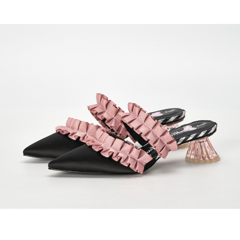 Ladies Ruffle Mule Sandal 5234 Black - House of Avenues - Designer Shoes | 香港 | 女鞋 House of Avenues