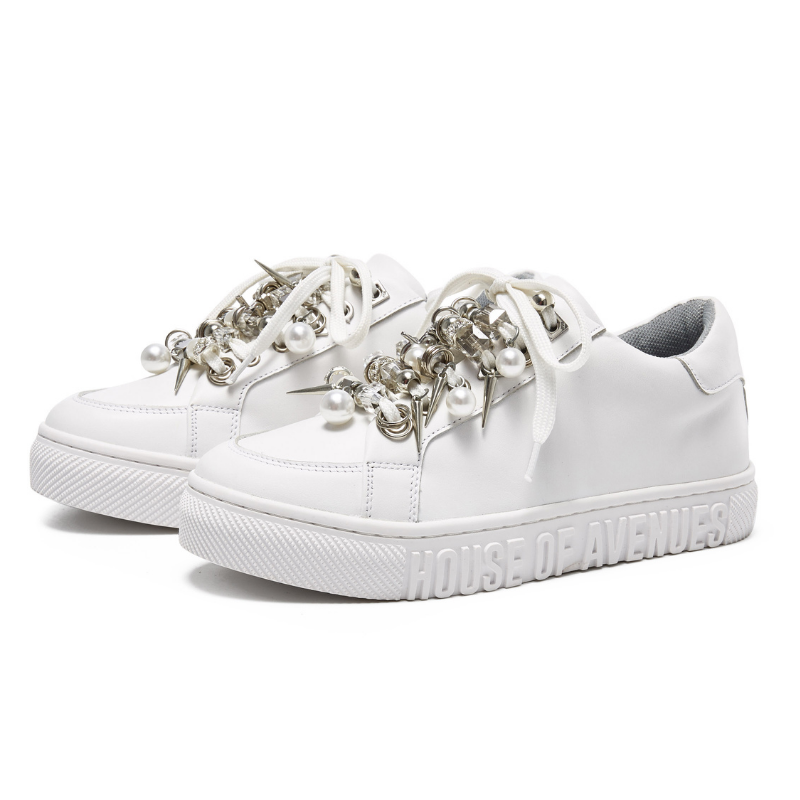 Ladies Pearl Ribbon Sneaker 5551 White - House of Avenues - Designer Shoes | 香港 | 女鞋 House of Avenues
