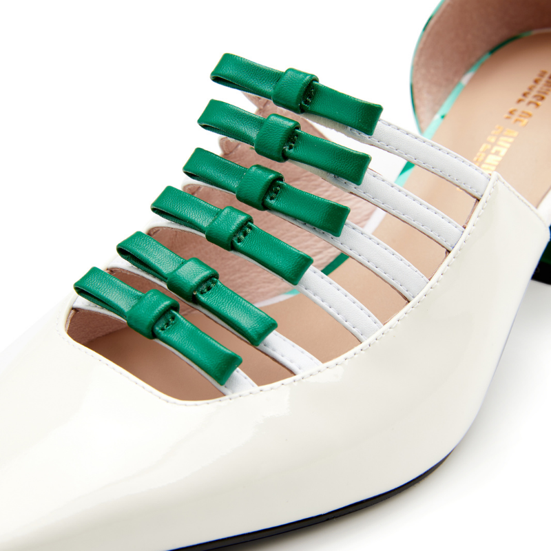 Ladies Retro Style Heel Loafer 5502 White - House of Avenues - Designer Shoes Online 香港女鞋網店