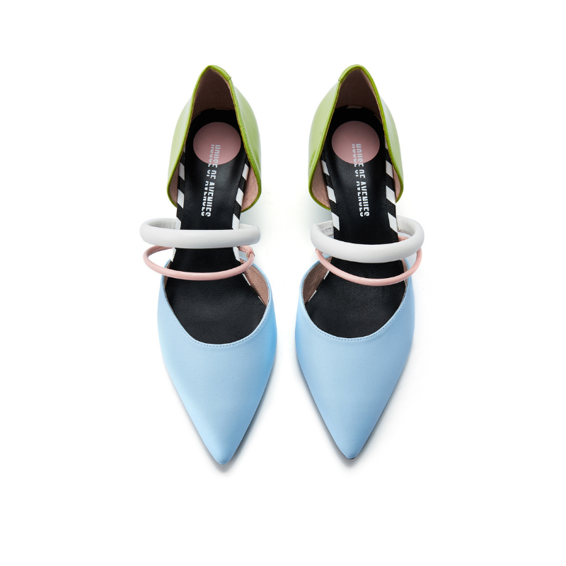 Ladies Color Blocking Mary Jane Pumps 5601 Light Blue - House of Avenues - Designer Shoes | 香港 | 女鞋 House of Avenues