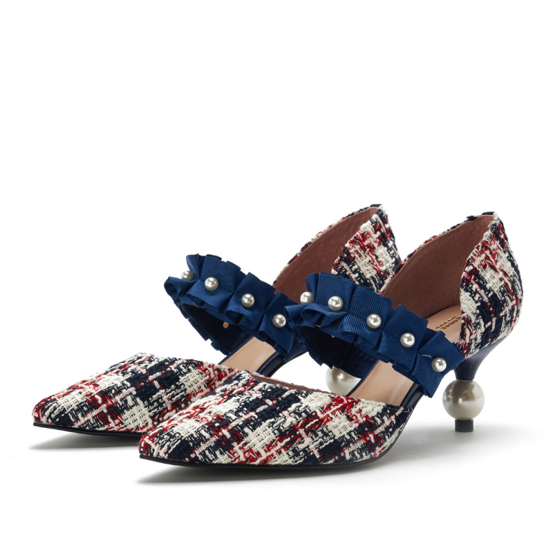 Ladies Romantic Tweed d'Orsay Pumps 5345 Navy - House of Avenues - Designer Shoes Online 香港女鞋網店