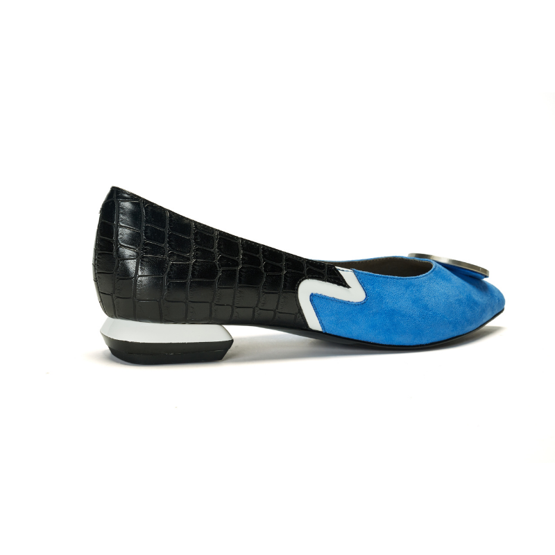 Keep Art Alive Ladies Color Blocking Flat Pumps 5523 Blue - House of Avenues - Designer Shoes Online