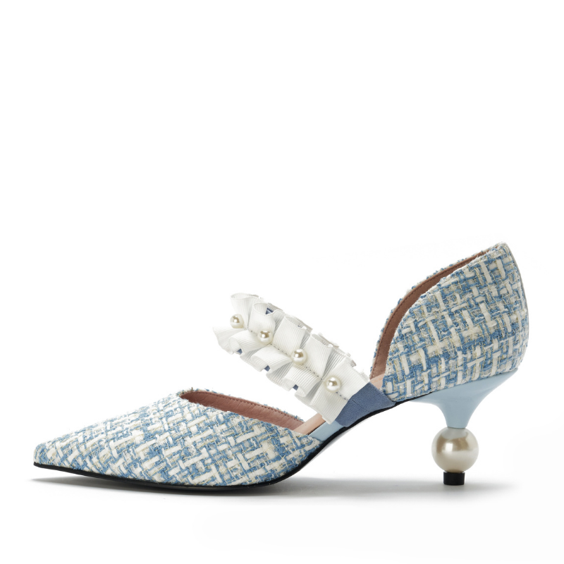Ladies Romantic Tweed d'Orsay Pumps 5345 Light Blue - House of Avenues - Designer Shoes | 香港 | 女鞋 House of Avenues