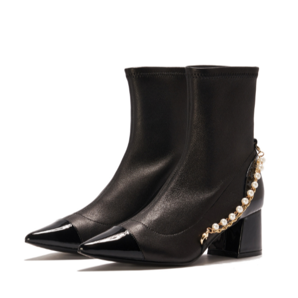 Ladies Pearl & Chain Leather Ankle Boot 5413 - House of Avenues - Designer Shoes | 香港 | 女鞋 House of Avenues