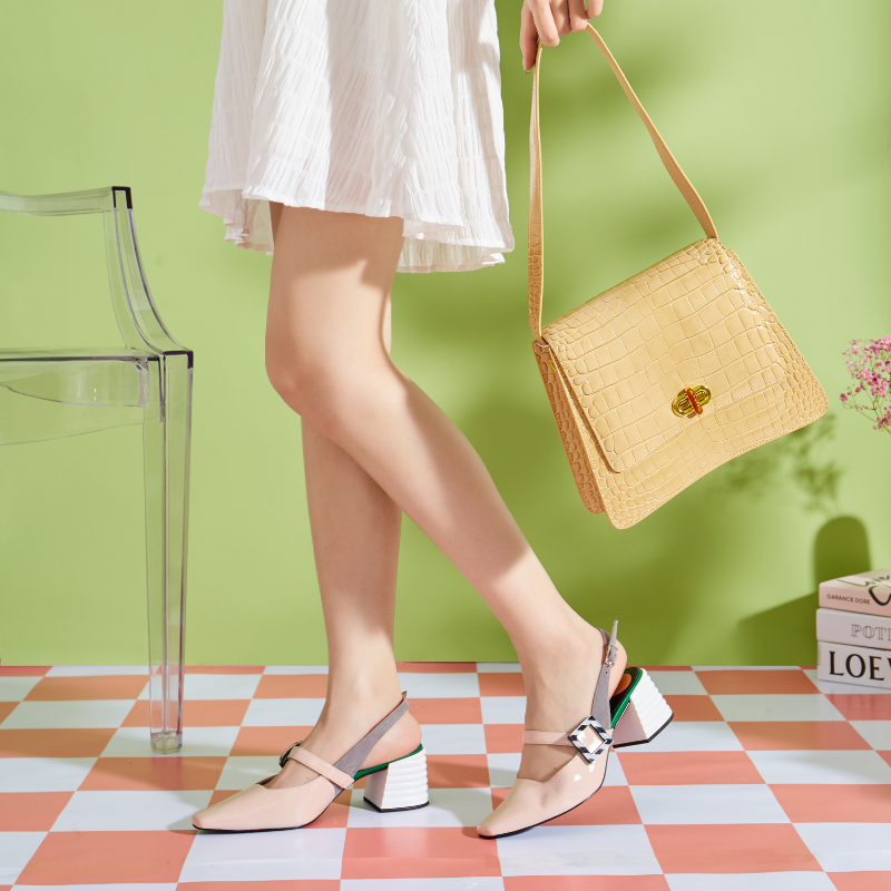 Ladies Patent Memphis Slingback Pumps 5602 Beige - House of Avenues - Designer Shoes | 香港 | 女鞋 House of Avenues