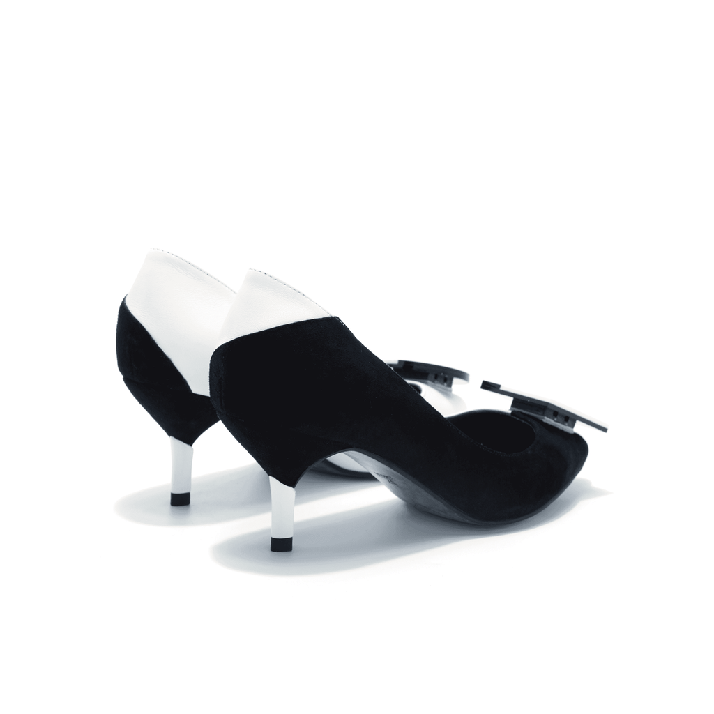 Ladies Color Block Kitten Heel Pumps 4417 White - House of Avenues - Designer Shoes | 香港 | 女鞋 House of Avenues