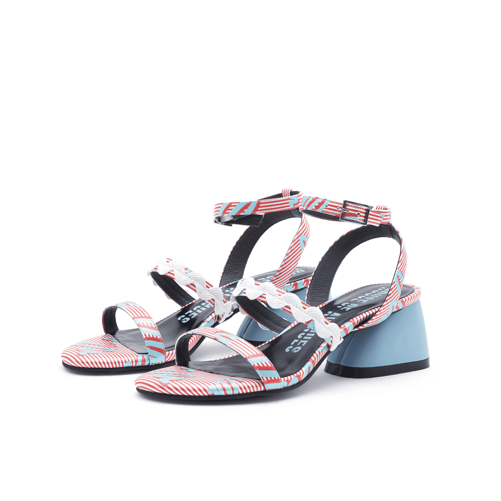 Ladies Overall Printed Block Heel Sandal 4453 Red - House of Avenues - Designer Shoes | 香港 | 女鞋 House of Avenues