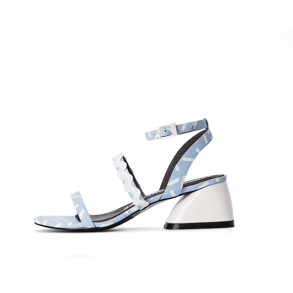 Ladies Overall Printed Heel Sandal 4453 Light Blue - House of Avenues - Designer Shoes | 香港 | 女鞋 House of Avenues