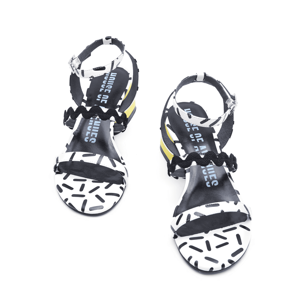 Ladies Overall Printed Heel Sandal 4453 White - House of Avenues - Designer Shoes | 香港 | 女鞋 House of Avenues