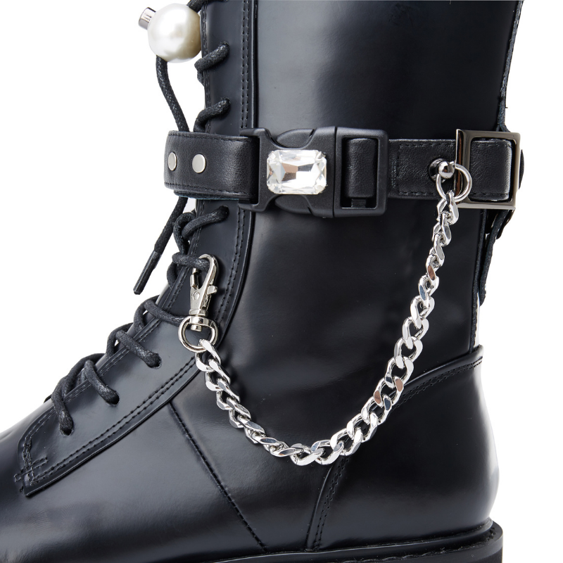 Ladies Chain Leather Military Boot 5563 - House of Avenues - Designer Shoes | 香港 | 女鞋 House of Avenues