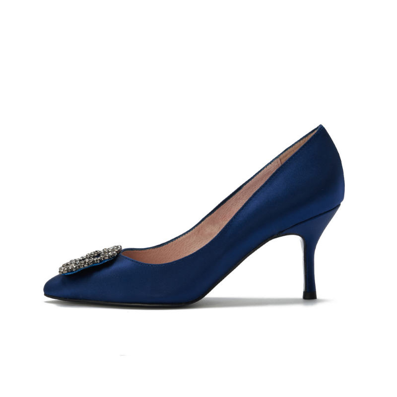 DB Ladies Ornament Heel Pumps DB010068 Navy - House of Avenues - Designer Shoes | 香港 | 女鞋 House of Avenues
