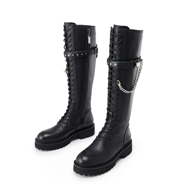 Ladies Chain Leather Combat Boot 5564 - House of Avenues - Designer Shoes | 香港 | 女鞋 House of Avenues