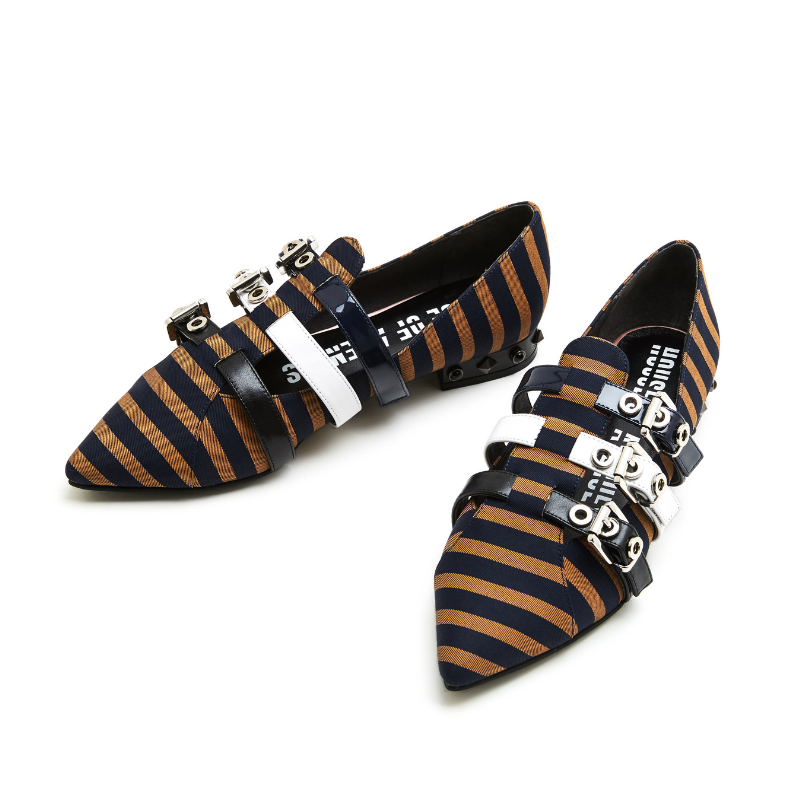 Ladies Stripe Pattern Flat Pumps 4413 Brown - House of Avenues - Designer Shoes | 香港 | 女鞋 House of Avenues