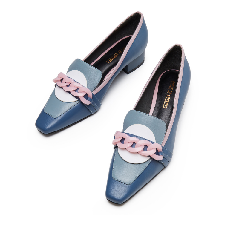 Ladies Retro Style Color Block Loafer 5567 Light Blue - House of Avenues - Designer Shoes | 香港 | 女鞋 House of Avenues