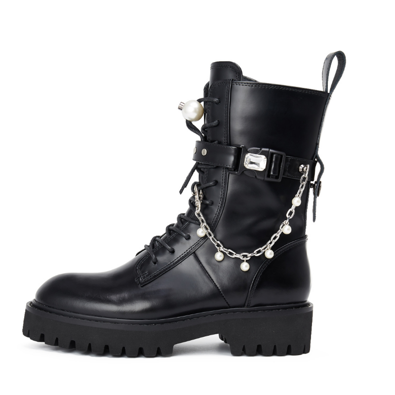 Ladies Pearl Leather Military Boot 5563 - House of Avenues - Designer Shoes | 香港 | 女鞋 House of Avenues