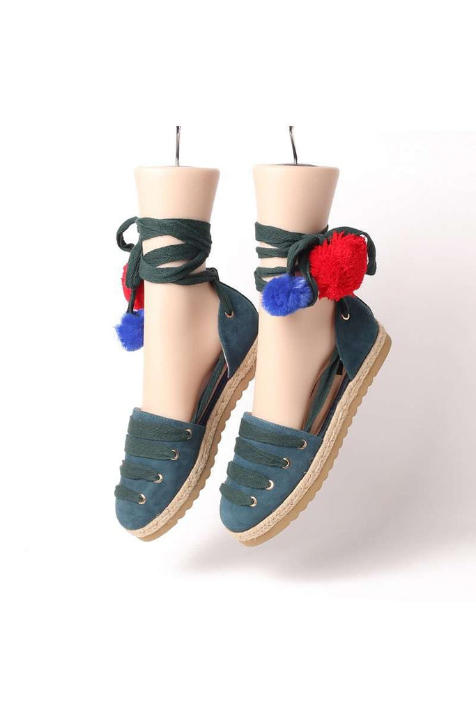 Ladies Canvas Pom Pom Lace Up Espadrille 5036 - House of Avenues - Designer Shoes Online 香港女鞋網店