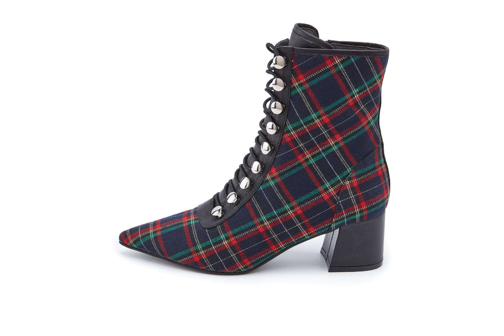 Ladies Check Lace Up Boots 5165 Red - House of Avenues - Designer Shoes Online 香港女鞋網店