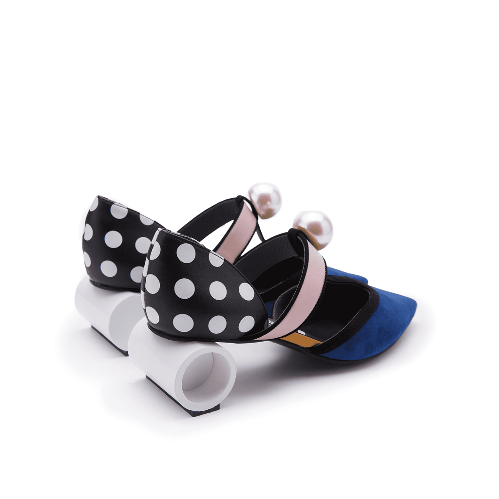 DOTS  T-STRAP PUMP WIH PEARL 5151 - House of Avenues - Designer Shoes Online