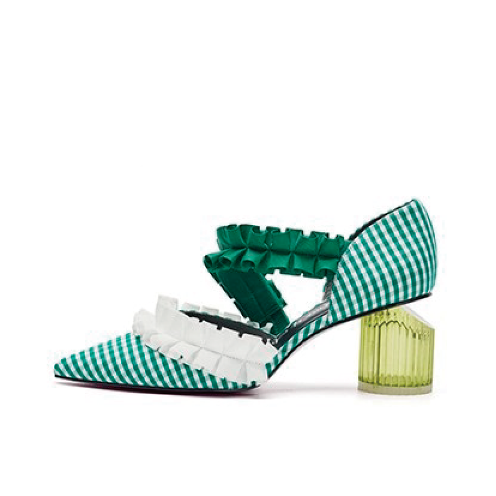 Ladies Ruffle d'orsay Heel Pumps 5232 Green - House of Avenues - Designer Shoes | 香港 | 女鞋 House of Avenues