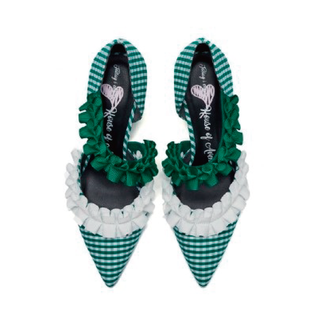 Ladies Ruffle d'orsay Heel Pumps 5232 Green - House of Avenues - Designer Shoes Online 香港女鞋網店