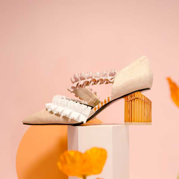 Ladies' Ruffle d'orsay Heel Pumps 5232 Beige - House of Avenues - Designer Shoes Online 香港女鞋網店