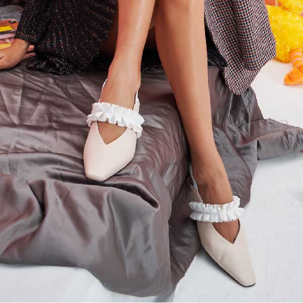 Boudoir Bazaar Ladies' Ruffle Heel Slingback Pumps 5233 Beige & Light Blue - House of Avenues - Designer Shoes | 香港 | 女鞋 House of Avenues