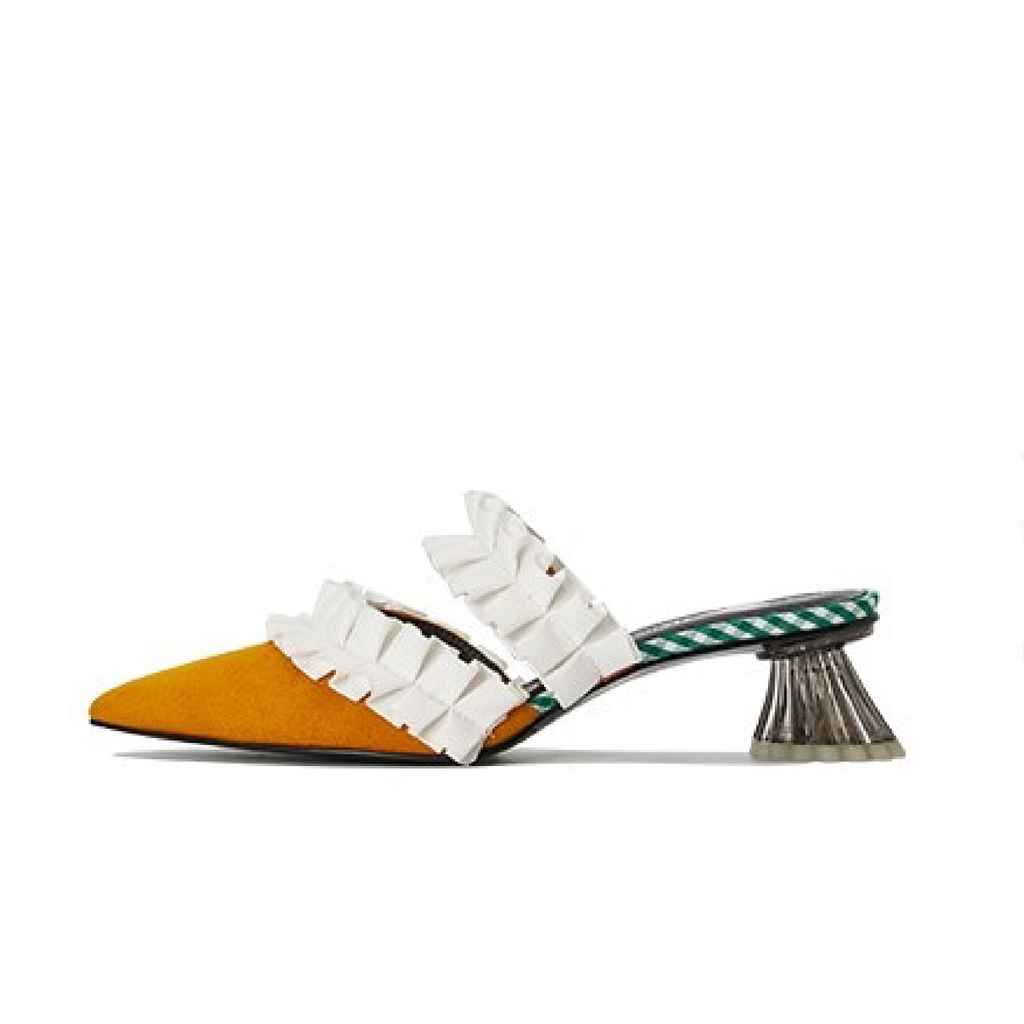 Ladies Ruffle Mule Sandal 5234 Yellow - House of Avenues - Designer Shoes Online 香港女鞋網店