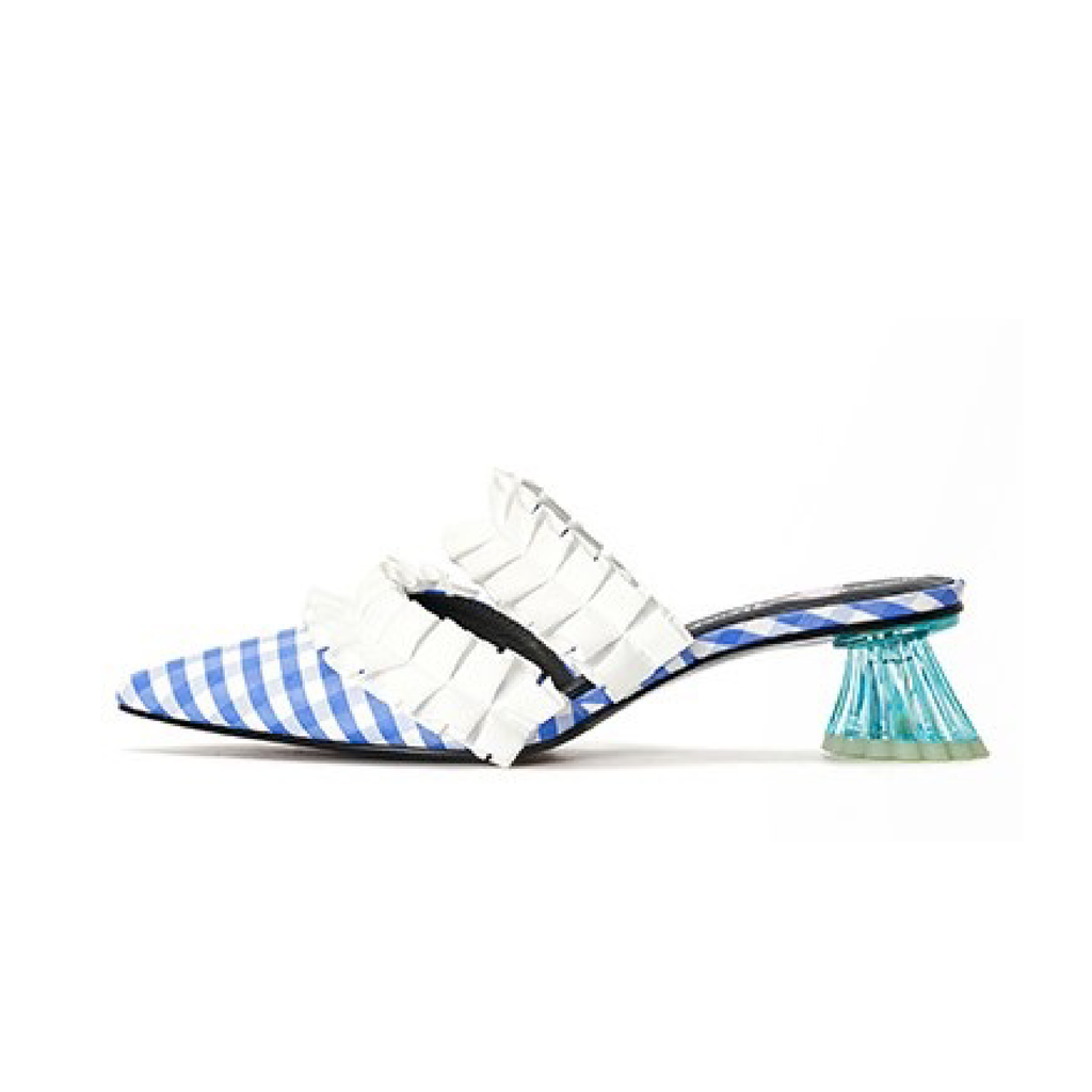 Ladies Ruffle Mule Sandal 5234 Light Blue - House of Avenues - Designer Shoes | 香港 | 女鞋 House of Avenues