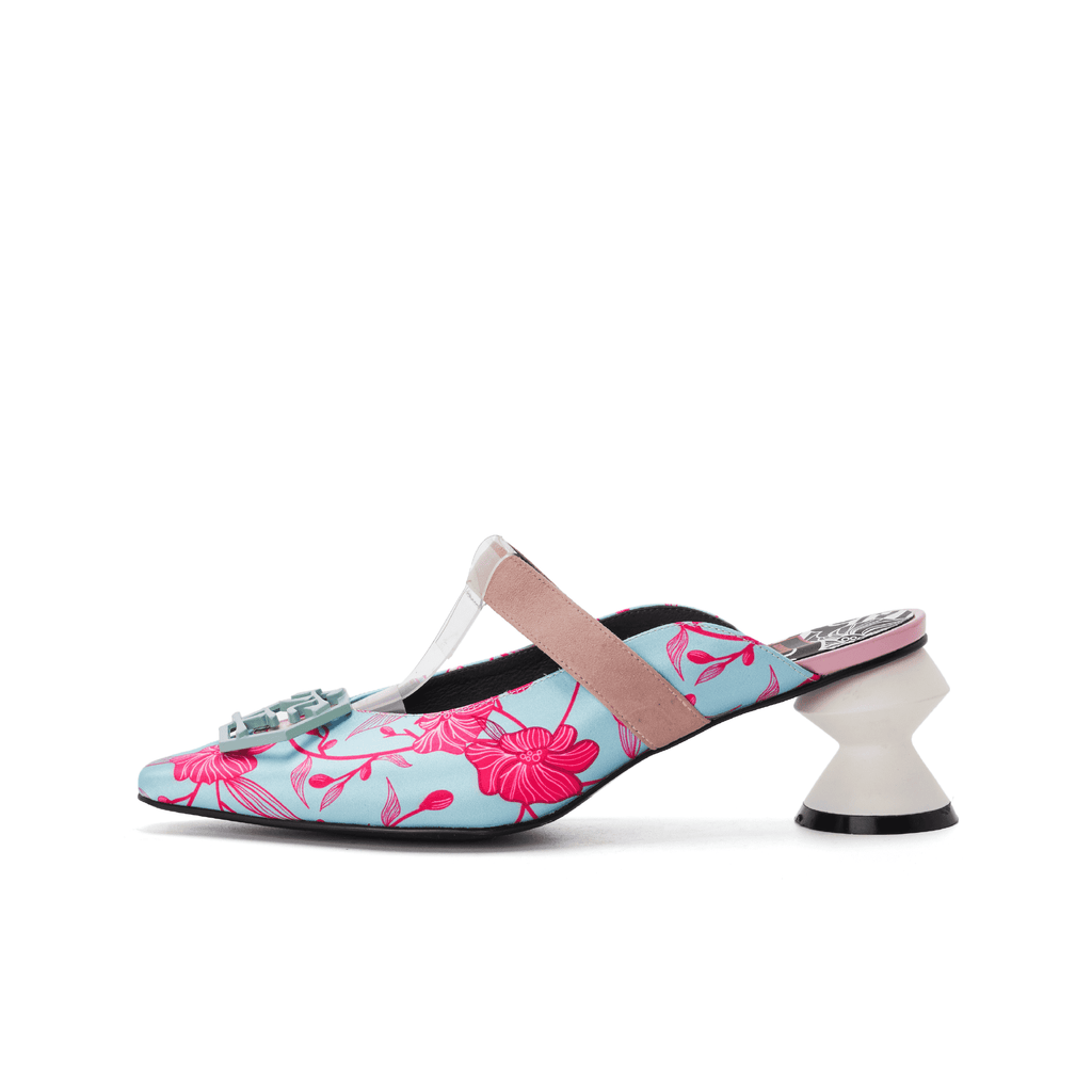 Ladies' Oriental Print Mule Sandal 5242 Navy - House of Avenues - Designer Shoes | 香港 | 女鞋 House of Avenues