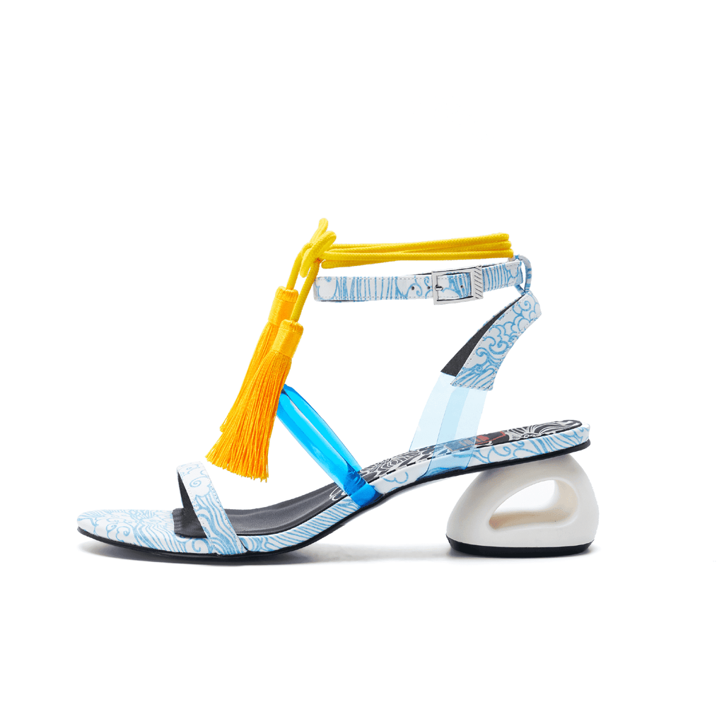 Ladies Tassel Strap Heel Sandal 5246 Light Blue - House of Avenues - Designer Shoes | 香港 | 女鞋 House of Avenues