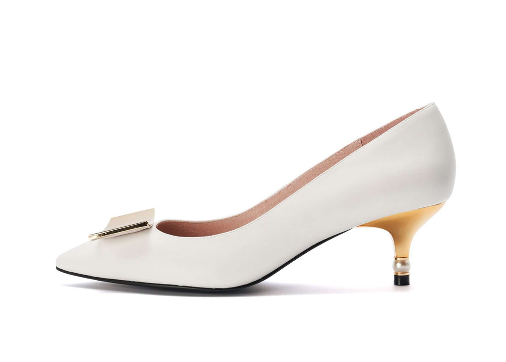 DC Ladies' Workday Kitten Heel Pumps 5362 White - House of Avenues - Designer Shoes Online
