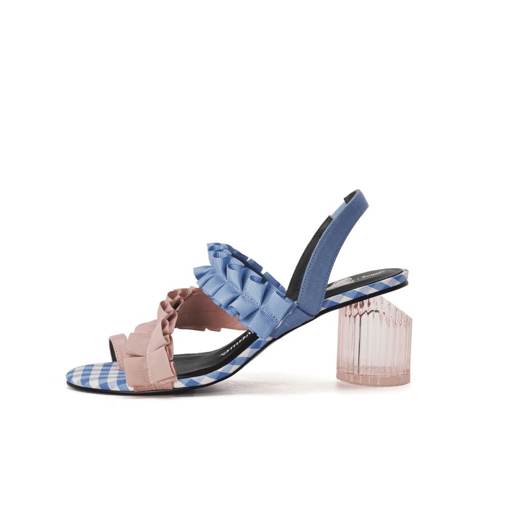 Ladies' Ruffle Double Straps Heel Sandal 5267 - House of Avenues - Designer Shoes Online 香港女鞋網店