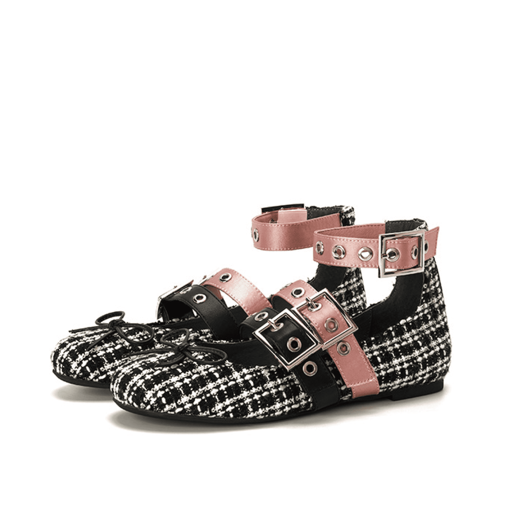 STRIPES WITH BUCKLE BALLERINAS 5301 - House of Avenues - Designer Shoes Online