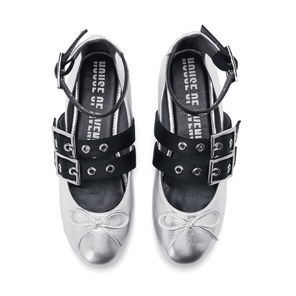 Ladies Eyelet Strap Ballerina 5301 Silver - House of Avenues - Designer Shoes | 香港 | 女鞋 House of Avenues