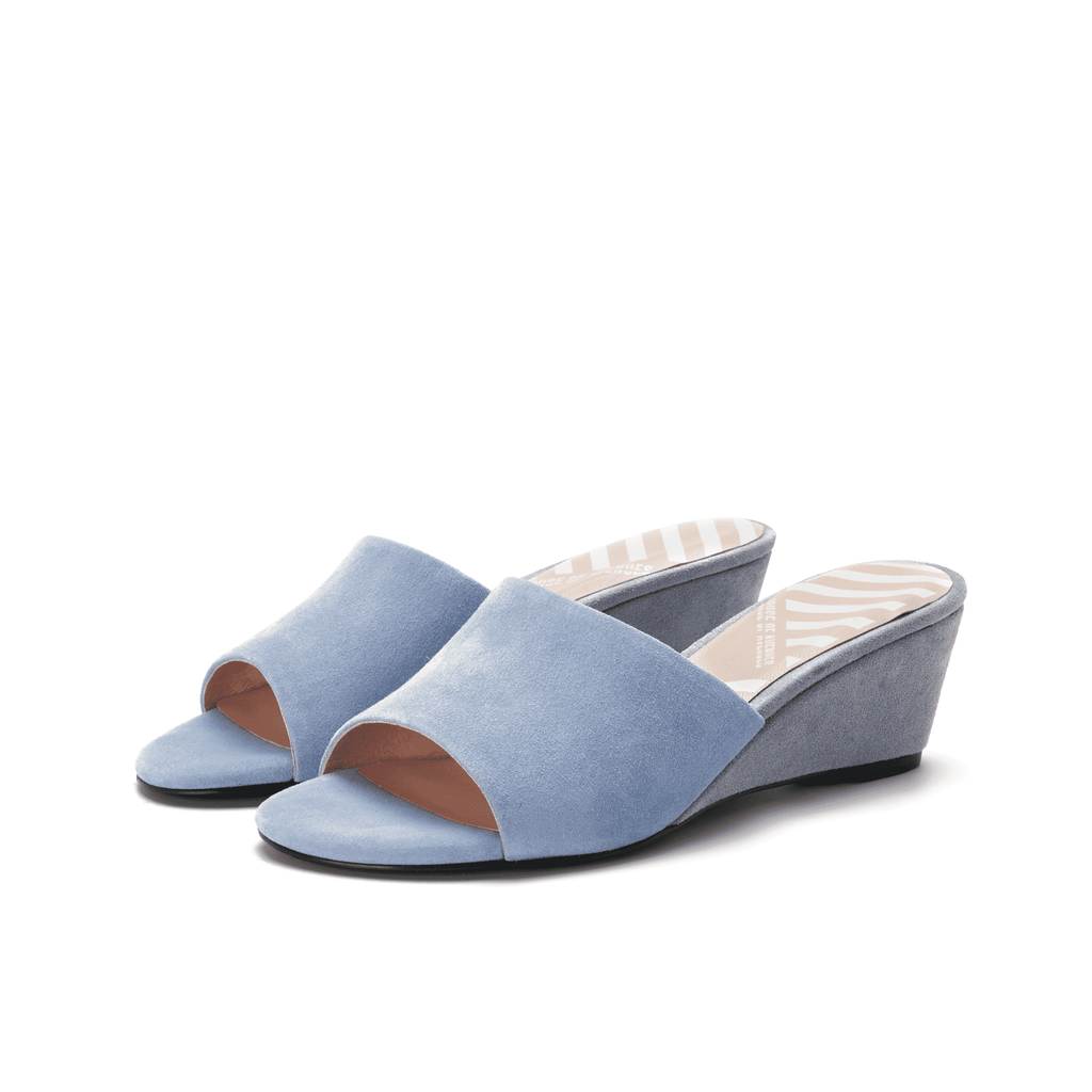 Ladies' Suede Slip-on Wedge Sandals 5315 Blue - House of Avenues - Designer Shoes | 香港 | 女鞋 House of Avenues