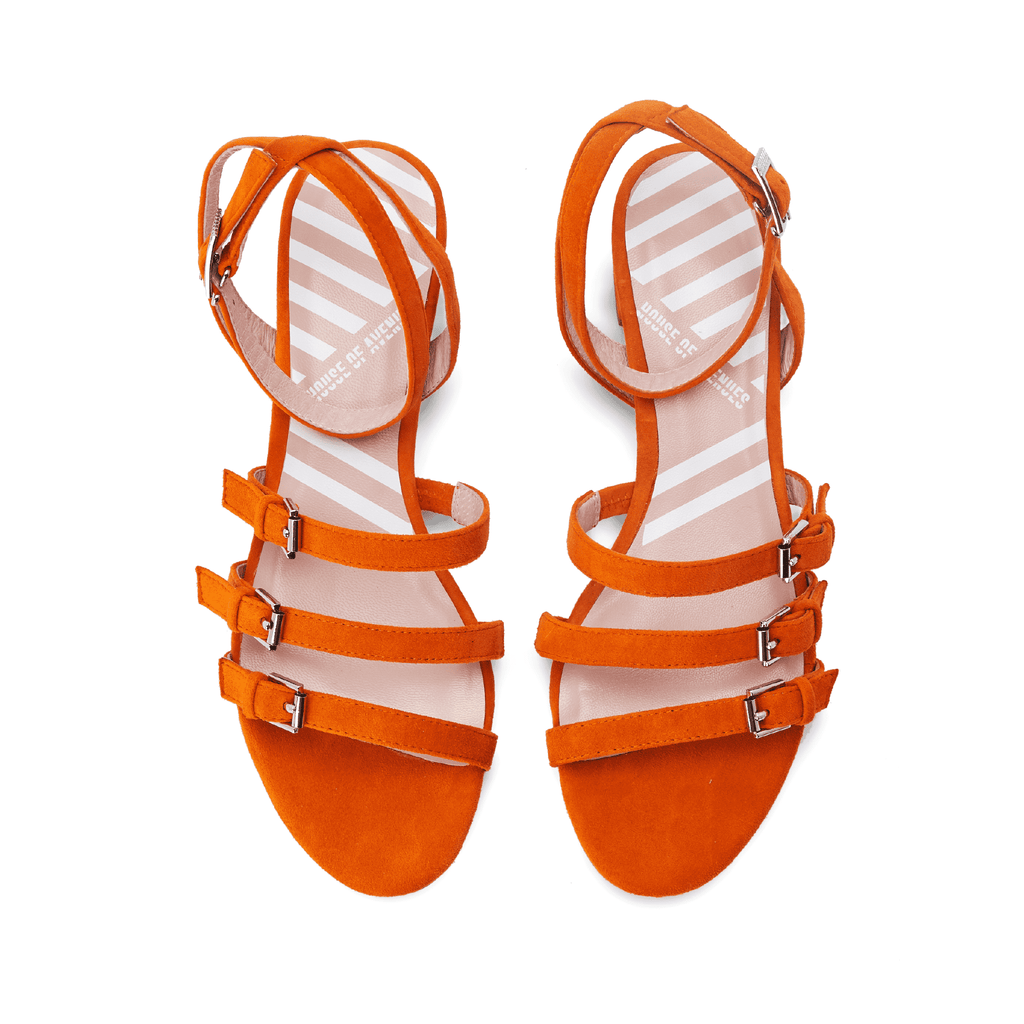 Ladies Strappy Low Heel Sandal 5319 Orange - House of Avenues - Designer Shoes Online 香港女鞋網店