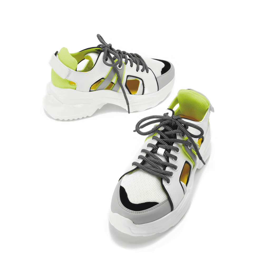 Ladies Cut Out Panelled Sneaker 5327 Green - House of Avenues - Designer Shoes | 香港 | 女鞋 House of Avenues