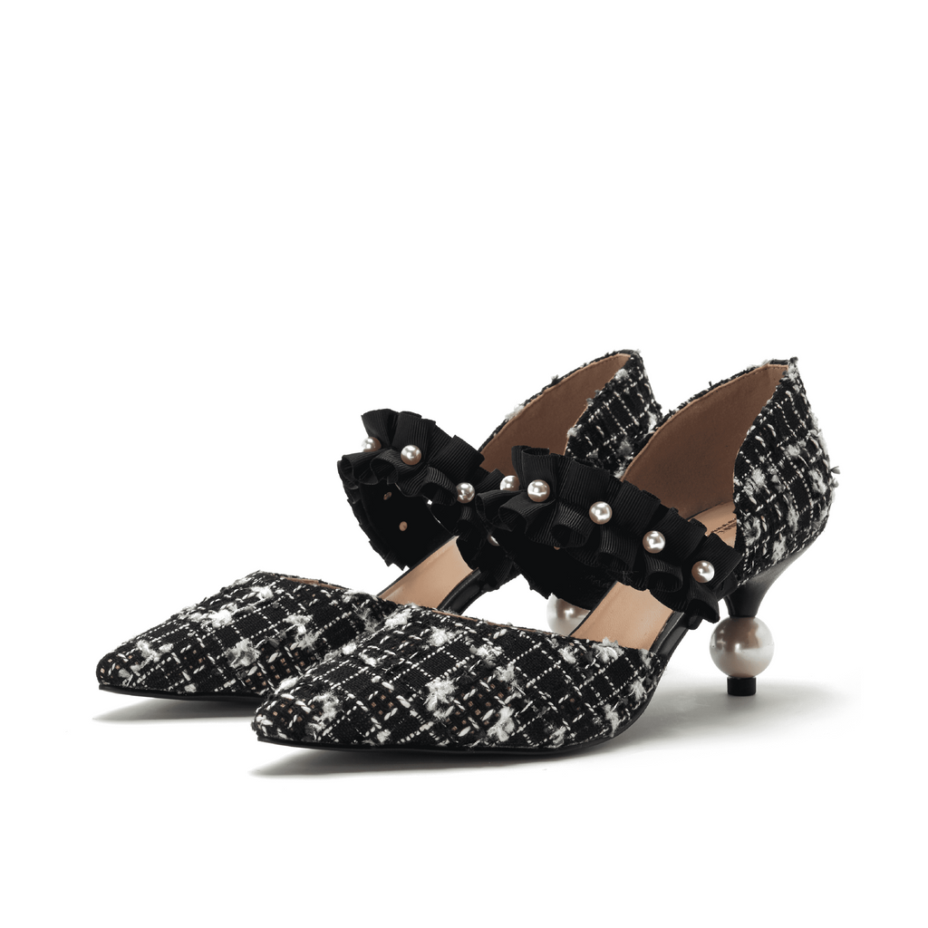 Ladies' Romantic Tweed d'Orsay Pumps 5345 Black - House of Avenues - Designer Shoes Online 香港女鞋網店