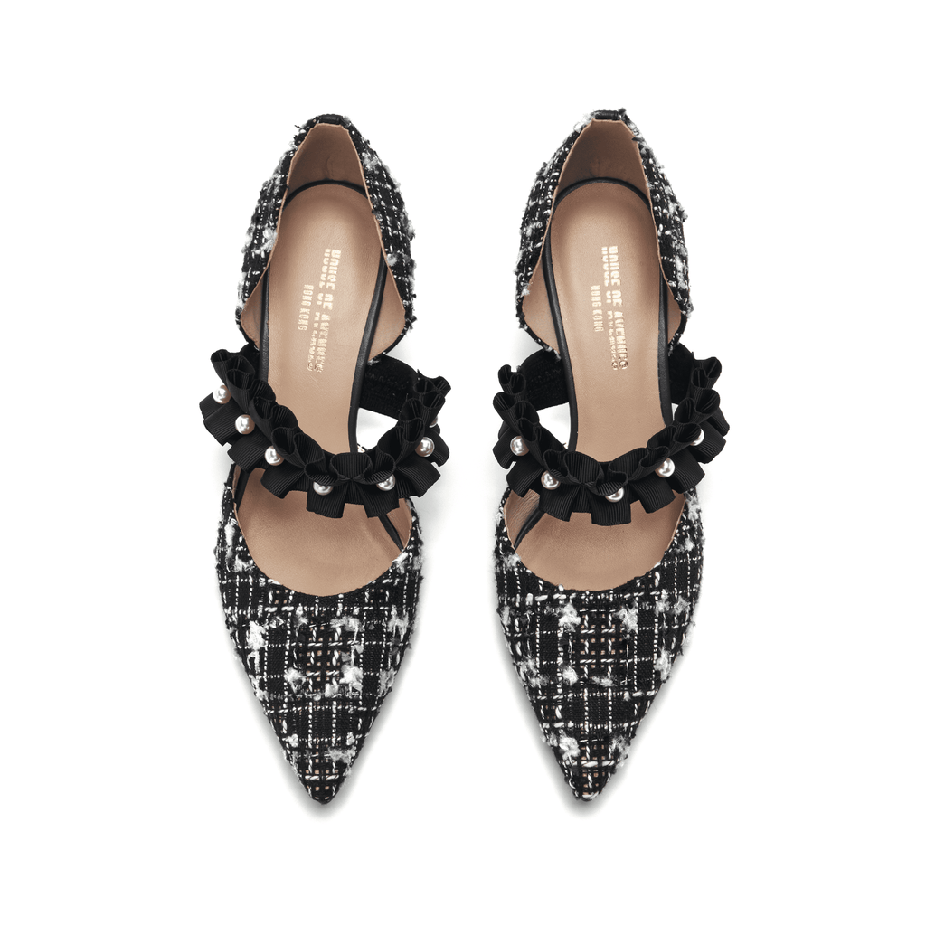 Ladies' Romantic Tweed d'Orsay Pumps 5345 Black - House of Avenues - Designer Shoes | 香港 | 女鞋 House of Avenues