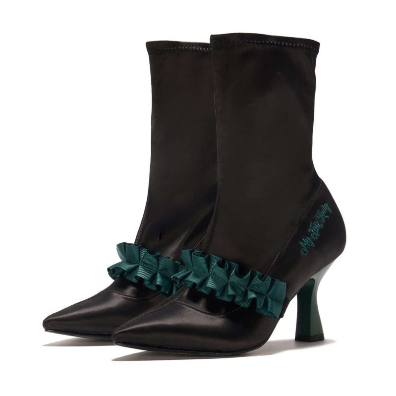 My Fair Lady Romantic Satin Ruffle Boot 5348 - House of Avenues - Designer Shoes Online