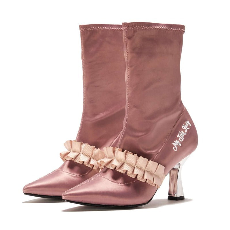 Ladies Romantic Satin Ruffle Boot 5348 Pink - House of Avenues - Designer Shoes Online 香港女鞋網店