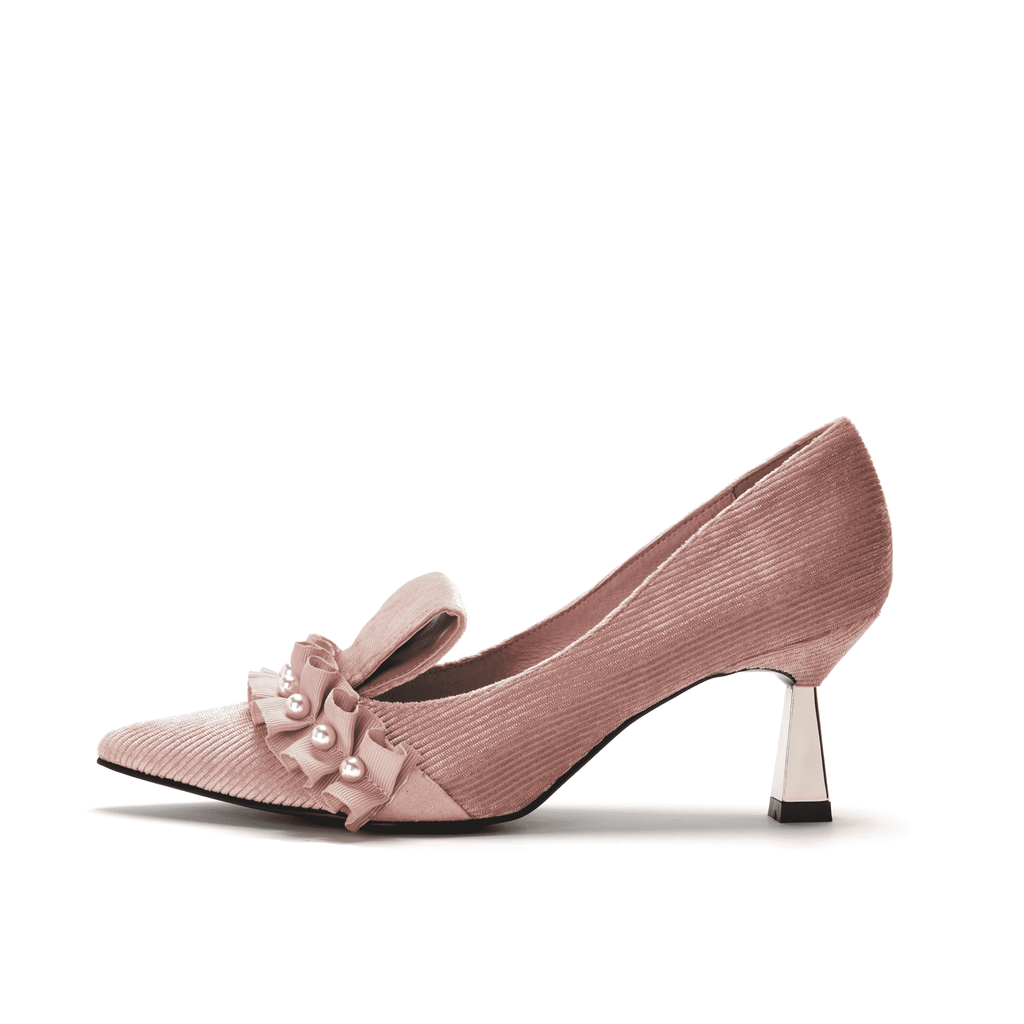 Ladies Pearl Beaded Spool Heel Pumps 5350 Pink - House of Avenues - Designer Shoes | 香港 | 女鞋 House of Avenues