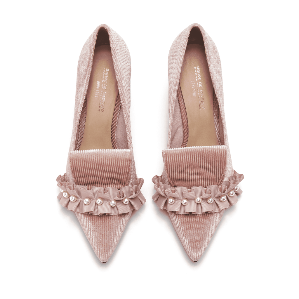 Ladies Pearl Beaded Spool Heel Pumps 5350 Pink - House of Avenues - Designer Shoes Online 香港女鞋網店