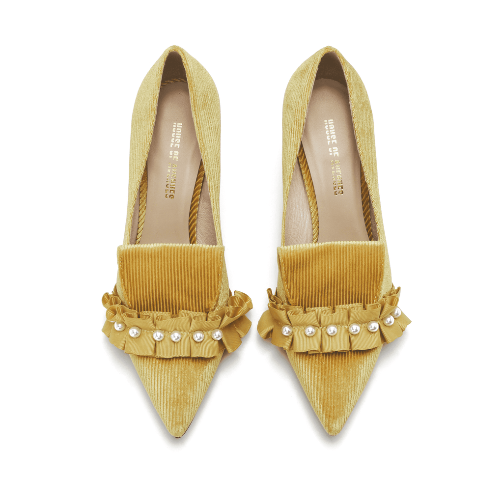 Ladies' Pearl Beaded Spool Heel Pumps 5350 Yellow - House of Avenues - Designer Shoes Online 香港女鞋網店