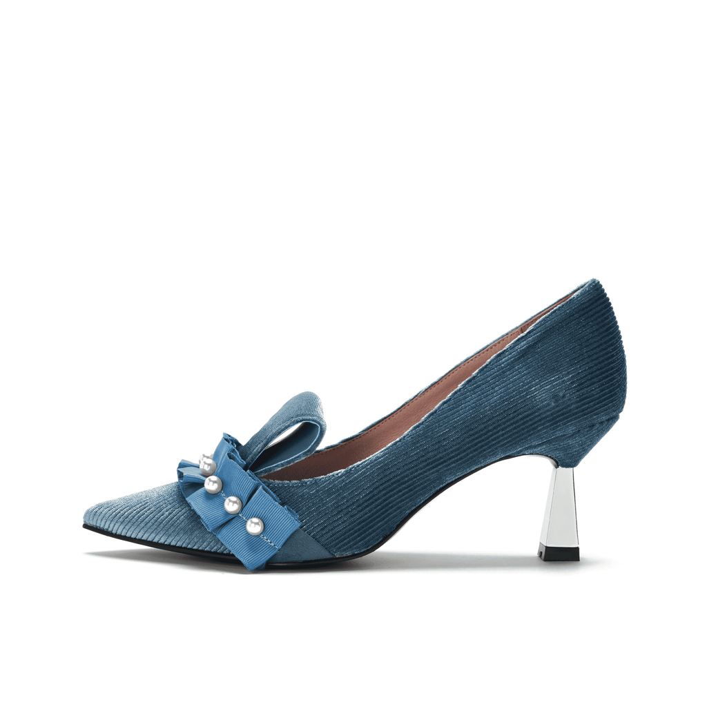 Ladies Pearl Beaded Spool Heel Pumps 5350 Blue - House of Avenues - Designer Shoes | 香港 | 女鞋 House of Avenues