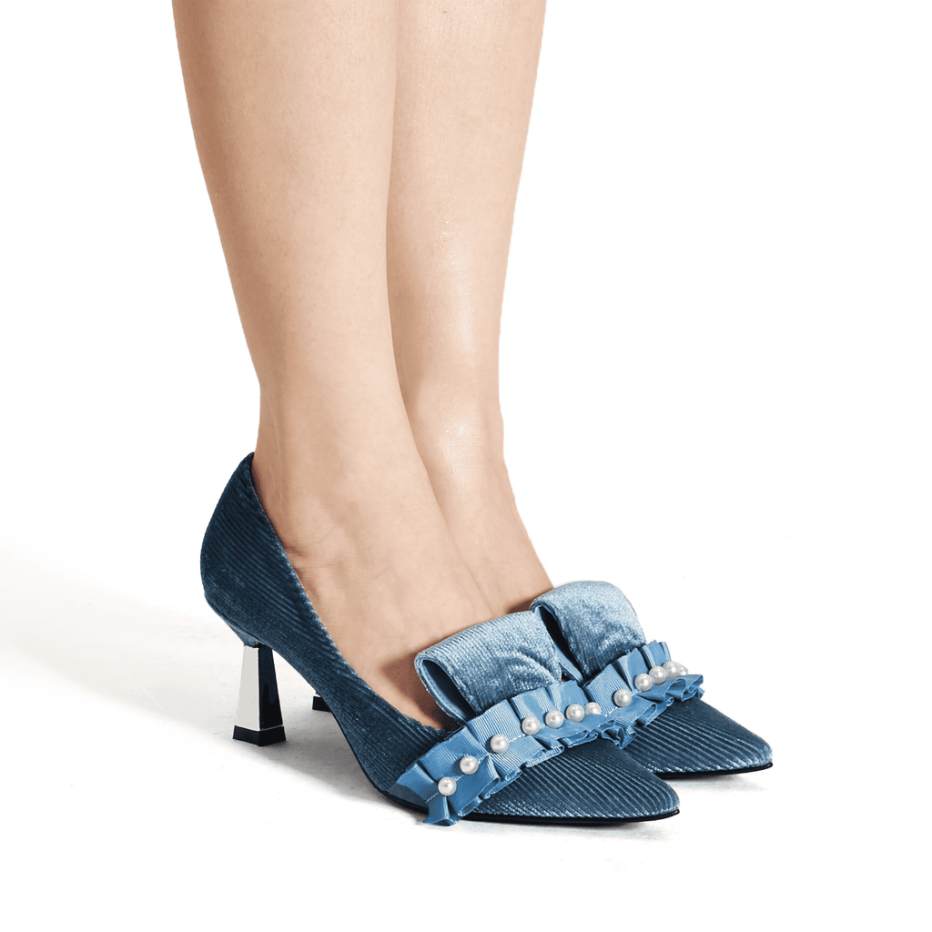 Ladies Pearl Beaded Spool Heel Pumps 5350 Blue - House of Avenues - Designer Shoes Online 香港女鞋網店
