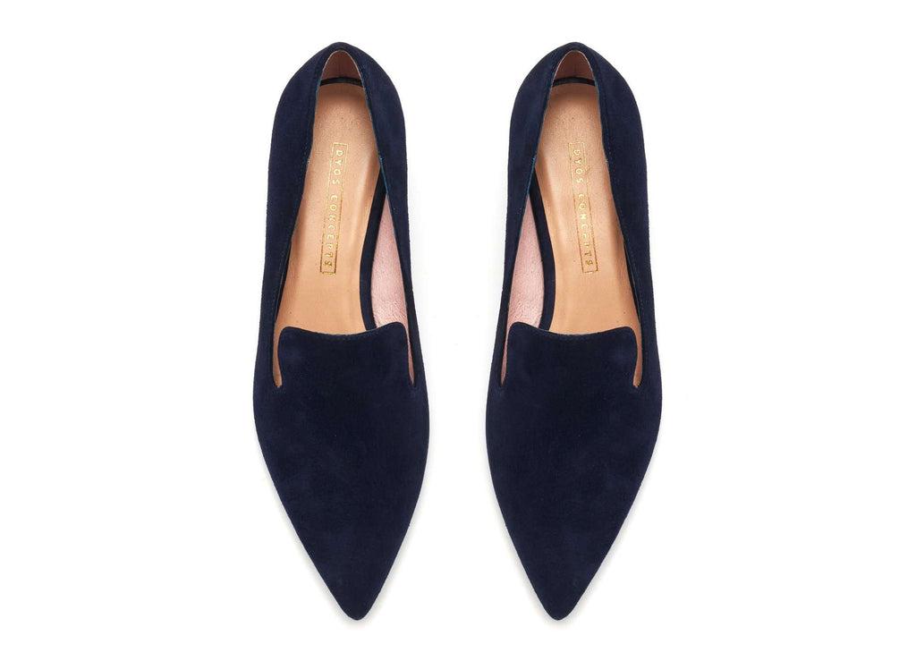 Ladies' Suede Block Heel Loafer 5359 Navy - House of Avenues - Designer Shoes Online 香港女鞋網店