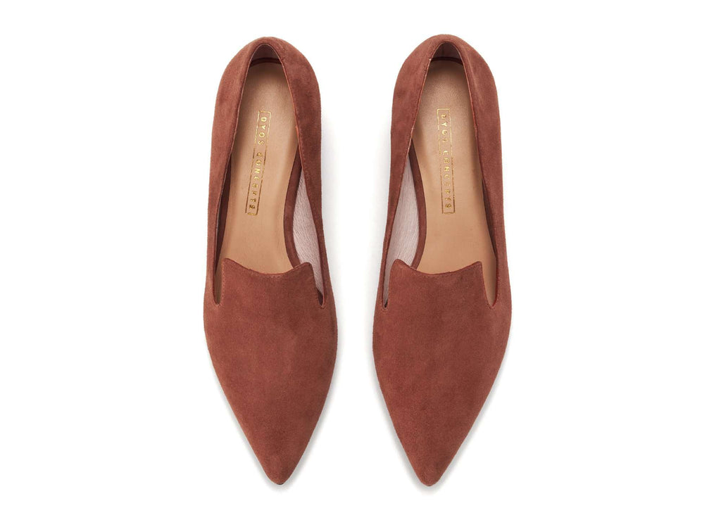 Ladies Suede Block Heel Loafer 5359 Caramel - House of Avenues - Designer Shoes Online 香港女鞋網店