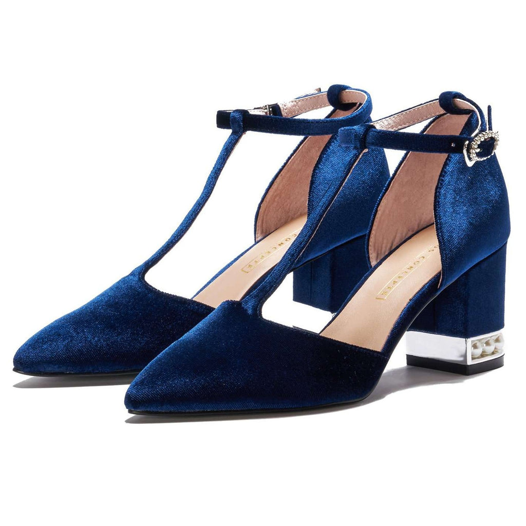 Ladies' Velvet T-Strap Heel Pumps 5360 Navy - House of Avenues - Designer Shoes Online 香港女鞋網店